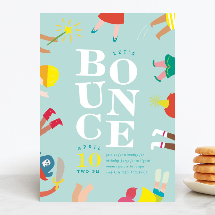 """""""Bounce"""" - Children's Birthday Party Invitations in Sky by Lori Wemple."""
