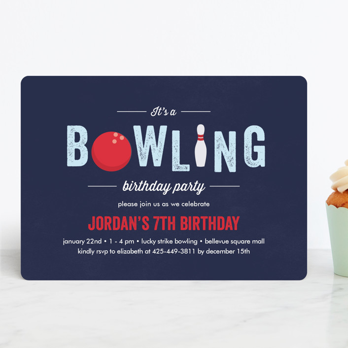 """""""Bowling Birthday Party"""" - Children's Birthday Party Invitations in Blue Slate by Anupama."""
