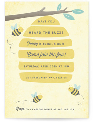 Buzzing Beehive Children's Birthday Party Invitations