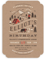 This is a brown kids birthday invitation by Jennifer Wick called Lumber Bears with standard printing on recycled in standard.