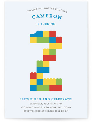 Master Builders Party Children's Birthday Party Invitations