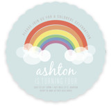 This is a colorful kids birthday invitation by Angela Garrick called Rainbow Celebration with standard printing on signature in standard.