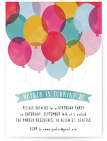 This is a blue kids birthday invitation by Hooray Creative called Birthday Balloons with standard printing on signature in standard.