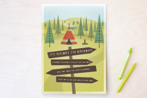 Woodland Campout Children's Birthday Party Invitations