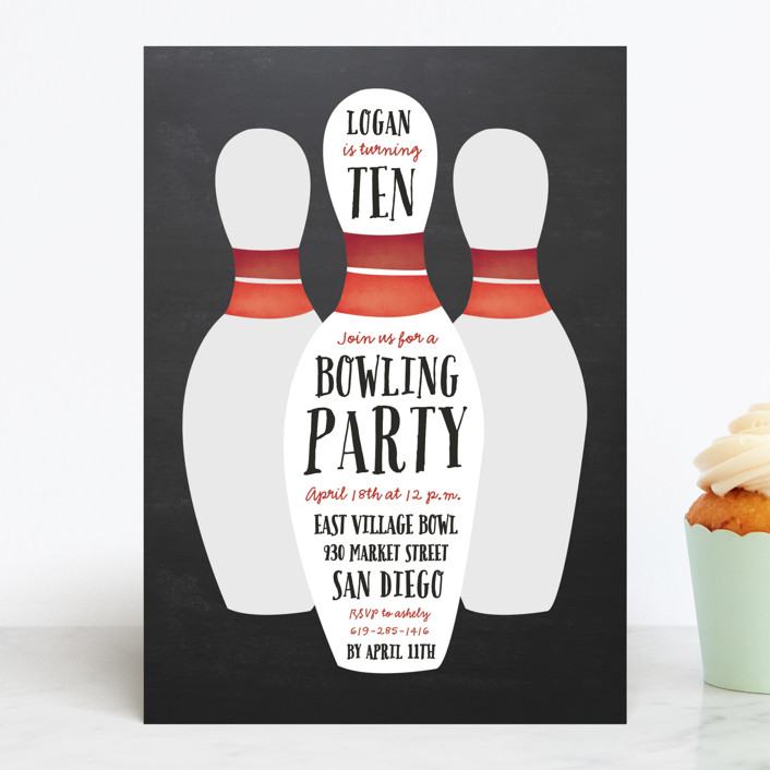 """""""Lucky Strike"""" - Children's Birthday Party Invitations in Bowling Ball by Erica Krystek."""