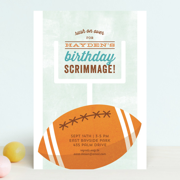 """""""Birthday Scrimmage"""" - Children's Birthday Party Invitations in Sky by Kimberly Morgan."""