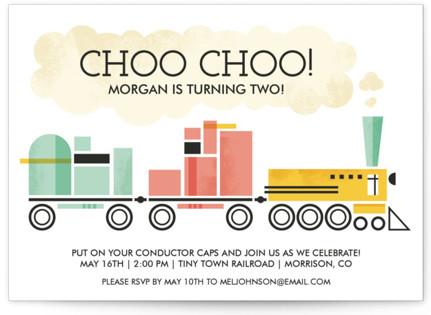 Mod Conductor Children's Birthday Party Invitations