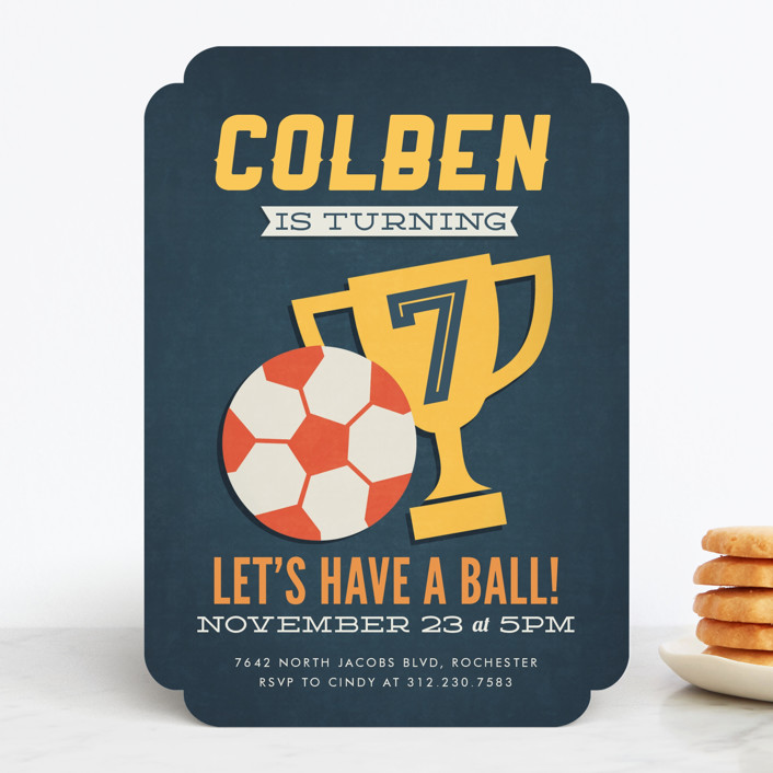 """""""Soccer Game Time"""" - Children's Birthday Party Invitations in Navy by Jessie Steury."""