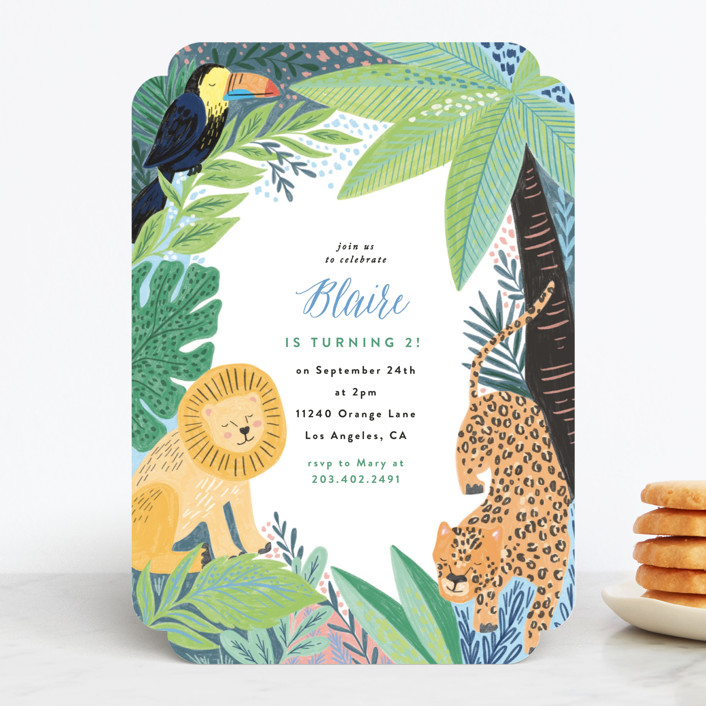 """""""Jungle Animal Sketchbook"""" - Children's Birthday Party Invitations in Canary by Alethea and Ruth."""