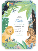 This is a yellow kids birthday invitation by Alethea and Ruth called Jungle Animal Sketchbook with standard printing on signature in standard.