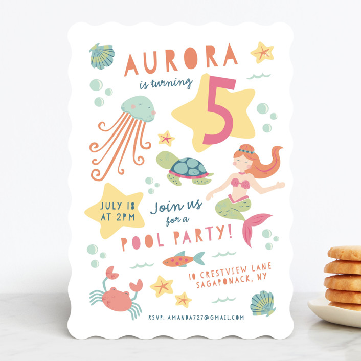 """Sirena"" - Children's Birthday Party Invitations in Coral by peetie design."