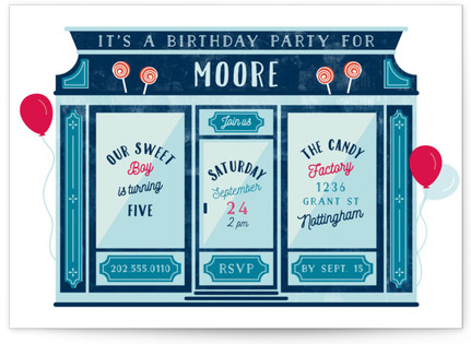 Candy Store Children's Birthday Party Invitations