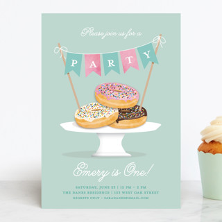 Everyone Loves Donuts Children's Birthday Party Invitations