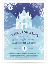 This is a blue kids birthday invitation by Jessica Ogden called Ice Castle with standard printing on signature in standard.