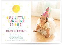 This is a colorful kids birthday invitation by Little Print Design called Little Sunshine with standard printing on smooth signature in standard.