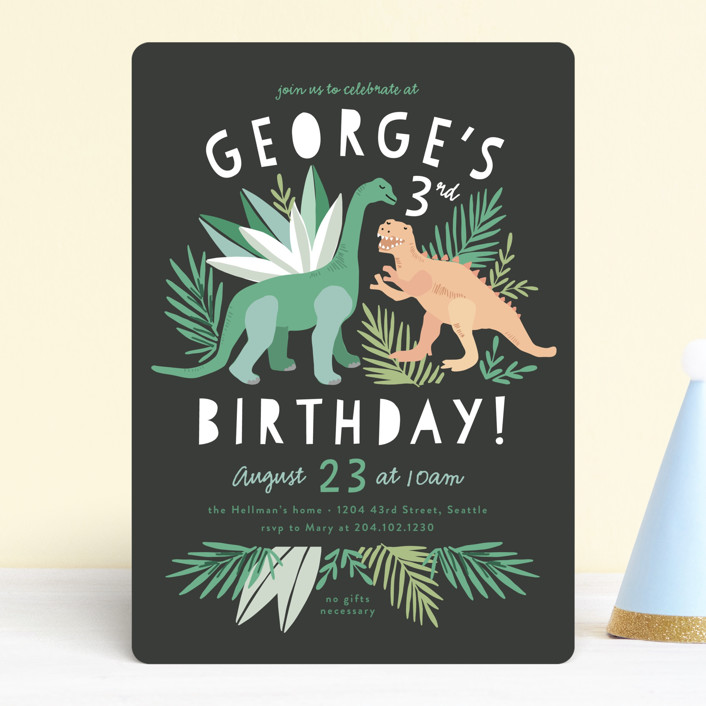 """""""Dino Friends"""" - Children's Birthday Party Invitations in Graphite by Alethea and Ruth."""