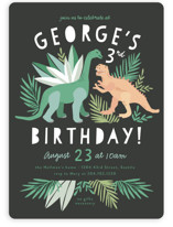 This is a green kids birthday invitation by Alethea and Ruth called Dino Friends with standard printing on signature in standard.