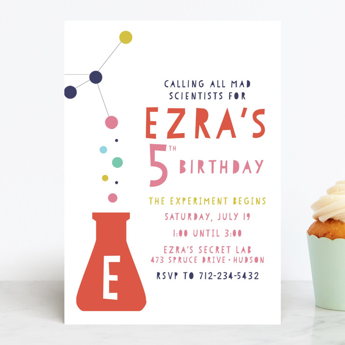 """Mad Scientist"" - Children's Birthday Party Invitations in Papaya by Pretty Girl Designs."