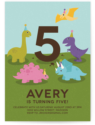Dinosaur Kids Birthday Party Invitations Minted