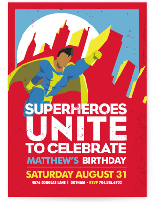 Super Heroes Childrens Birthday Party Invitations By Lori Wemple
