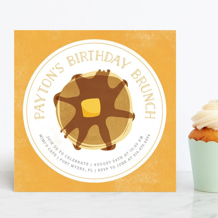 """Birthday Brunch"" - Children's Birthday Party Invitations in Sun by Kelly Nasuta."