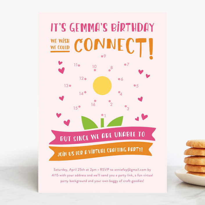 """We Connect!"" - Children's Birthday Party Invitations in Bubblegum by Christina Novak."