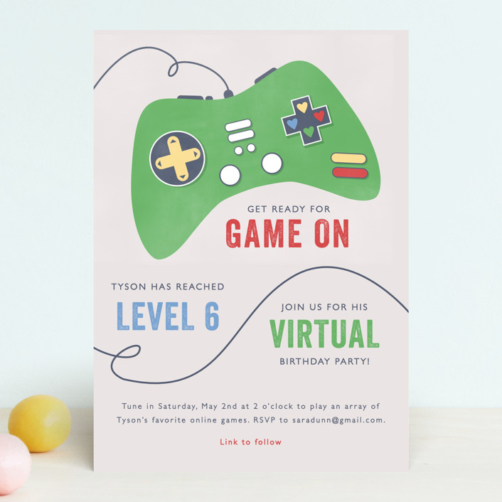 """""""Got Game"""" - Children's Birthday Party Invitations in Grass by Bethany Anderson."""