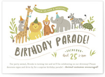 This is a green kids birthday invitation by Jennifer Wick called Animals on parade with standard printing on signature in standard.
