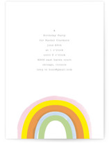 This is a orange kids birthday invitation by Baumbirdy called Little Rainbow with standard printing on signature in standard.