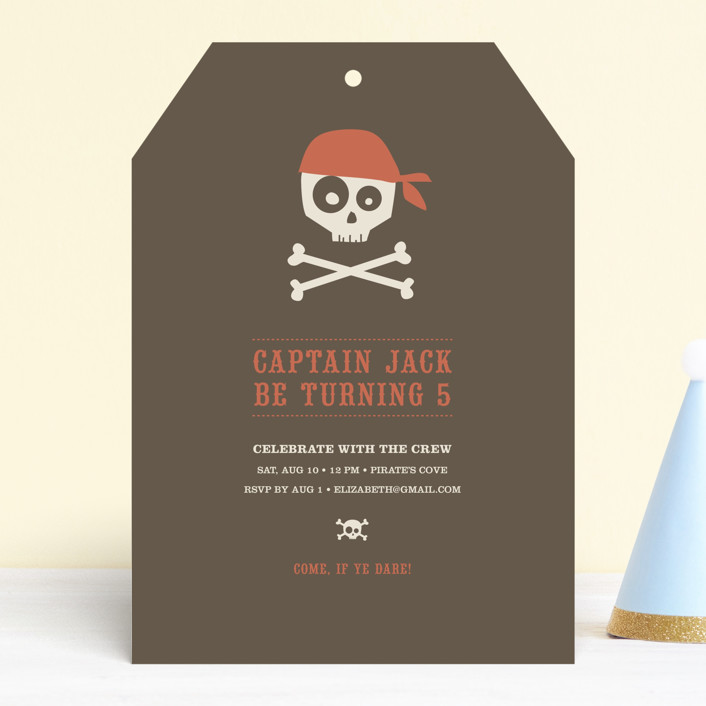 """""""Argh Pirates"""" - Children's Birthday Party Invitations in Chocolate by Guess What Design Studio."""
