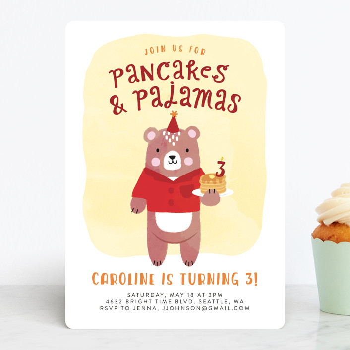 """""""Pancakes & Pajamas"""" - Children's Birthday Party Invitations in Raspberry by Ink and Letter."""