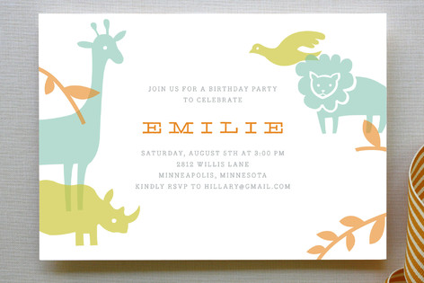 Zoo menagerie childrens birthday party invitation minted zoo menagerie childrens birthday party invitations stopboris Choice Image