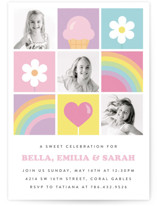 This is a pink kids birthday invitation by Maria Alou called Sweet Party with standard printing on signature in standard.