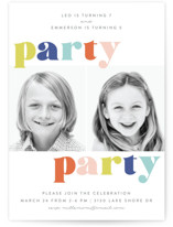 This is a colorful kids birthday invitation by Jessie Steury called Party Party with standard printing on signature in standard.