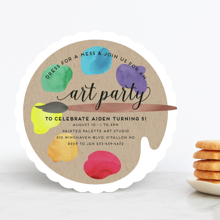 """Arty Party"" - Children's Birthday Party Invitations in Primary by Jen Owens."