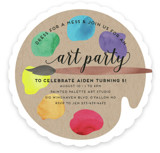 This is a colorful kids birthday invitation by Jen Owens called Arty Party with standard printing on signature in standard.