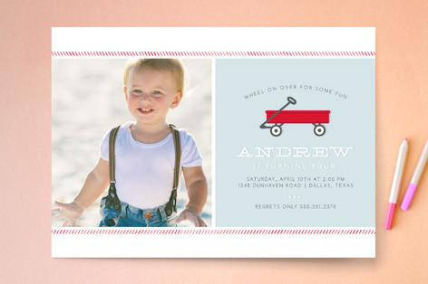 Little Red Wagon Childrens Birthday Party Invitat – Red Wagon Birthday Invitations