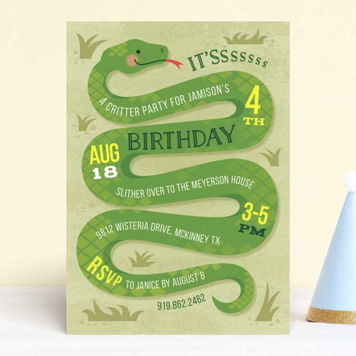 """Slithering Snake"" - Children's Birthday Party Invitations in Grass by Jessica Ogden."