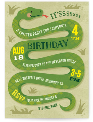Zoo animals kids birthday party minted slithering snake childrens birthday party invitations by jessica ogden filmwisefo