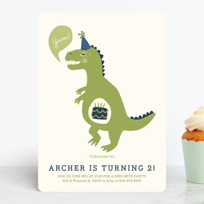 """Cakeasaurus Dinosaur"" - Children's Birthday Party Invitations in Lime by Melissa Egan of Pistols."