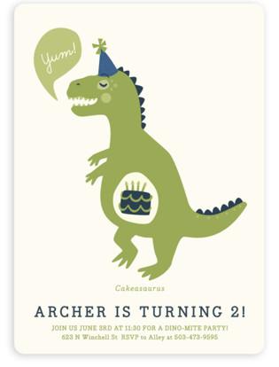 Dinosaur kids birthday party invitations minted cakeasaurus dinosaur childrens birthday party invitations by pistols filmwisefo