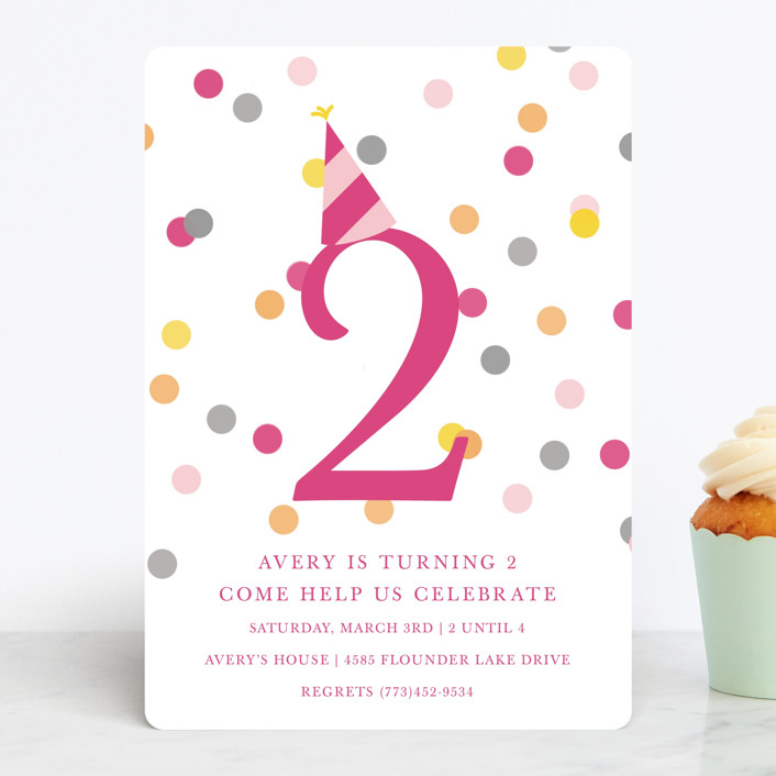"""Confetti Fun"" - Children's Birthday Party Invitations in Hot Pink by Pretty Girl Designs."