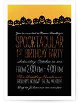 This is a black kids birthday invitation by Sarah Brown called Spooktacular with standard printing on signature in standard.