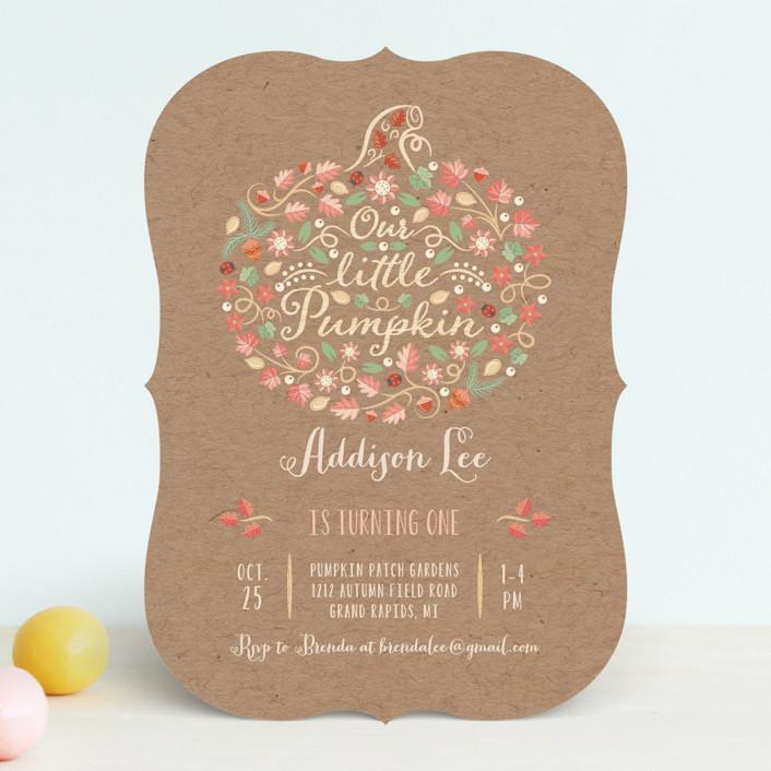 """""""Little Pumpkin"""" - Children's Birthday Party Invitations in Kraft by Paper Sun Studio."""