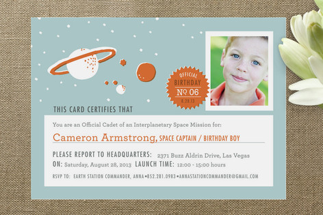 Space Mission Children's Birthday Party Invitations