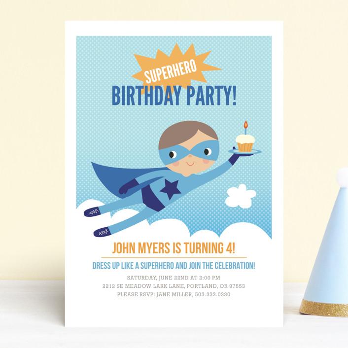 """""""Super Birthday Boy"""" - Children's Birthday Party Invitations in Royal Blue by Tara Lilly Studio."""