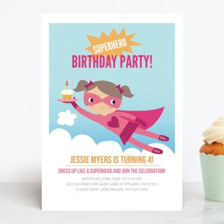 Super Birthday Girl Children's Birthday Party Invitations