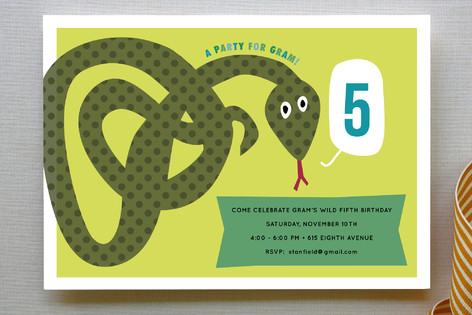 Snake Childrens Birthday Party Invitations by Sar Minted