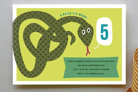 Snake childrens birthday party invitations by sar minted snake childrens birthday party invitations filmwisefo