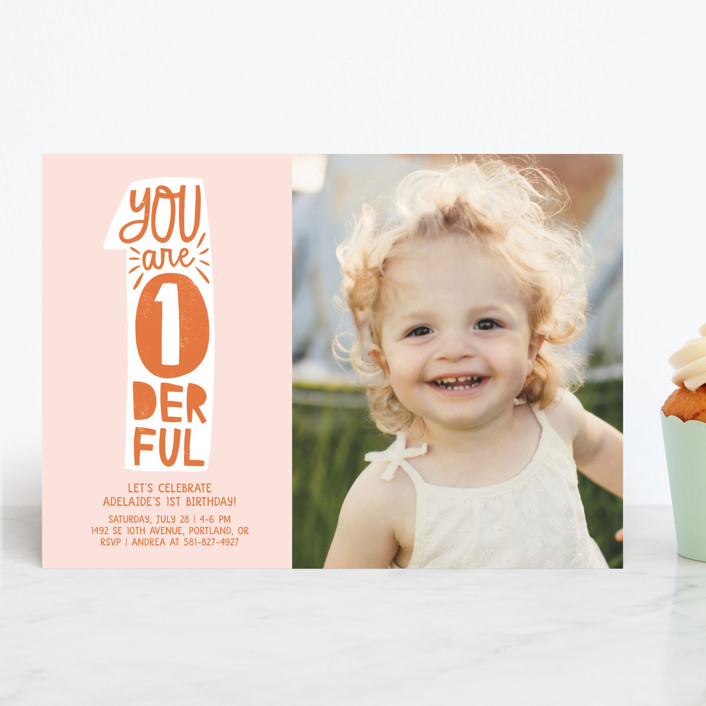 """""""Wonderful One"""" - Children's Birthday Party Invitations in Tangerine by Vine and Thistle."""